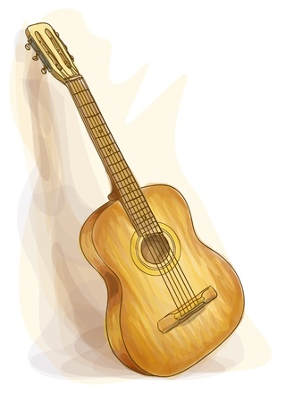 Guitar. Watercolor style. Vector illustration.