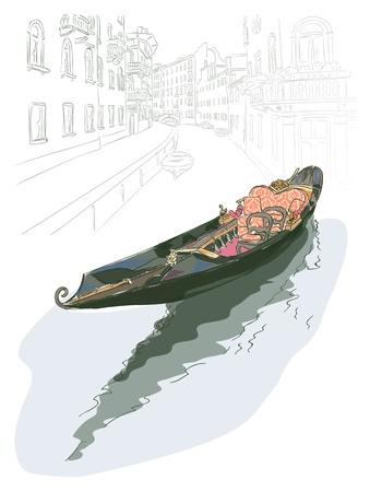 Foto de Gondola. Watercolor style. Vector illustration. - Imagen libre de derechos