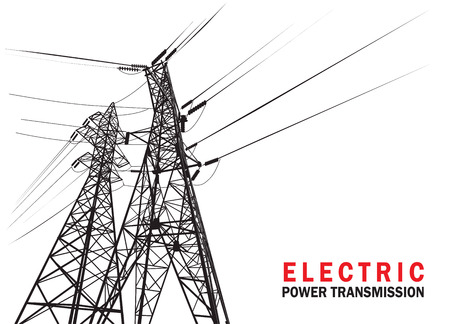 Electric power transmission. Vector silhouette.