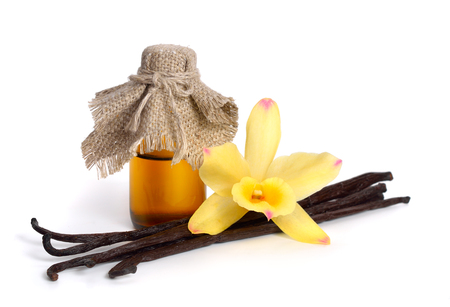 Photo for Vanilla essential oil in pharmaceutical bottle with pods and one yellow orchid. Isolated. - Royalty Free Image