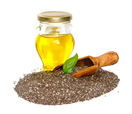 Foto für Chia oil with seed. Isolated on white background. - Lizenzfreies Bild