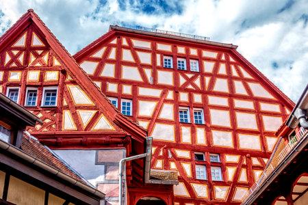 Fassade eines Fachwerkhauses in der Altstadt von Ladenburg, Baden WÌrtemberg