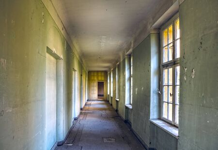 long corridor in an abandoned villa