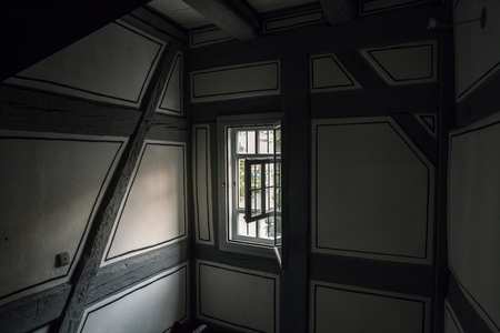 small window in a half-timbered house