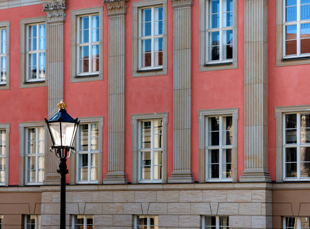 Lantern in front of the facade of the new Potsdam state parliament