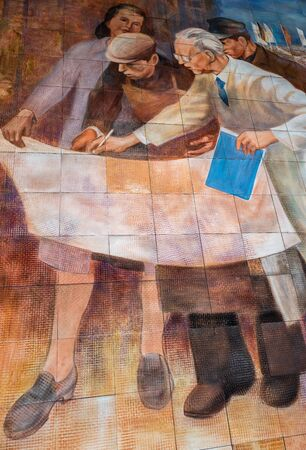 Mural painting at the building of the Federal Ministry of Finance in Berlin