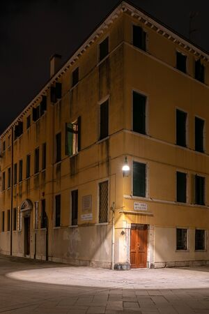 Night photo of a house in venice
