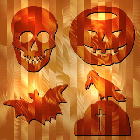 Set Of Vector Halloween Signes  Carved on Wood Texture
