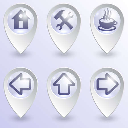 Vector set of glass map pins with informational images