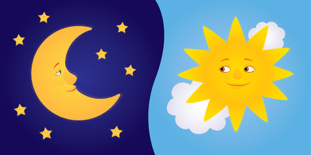 Ilustración de Vector cartoon illustration of half moon with stars and sun among clouds looking to each other and smiling. Horizontal format. - Imagen libre de derechos