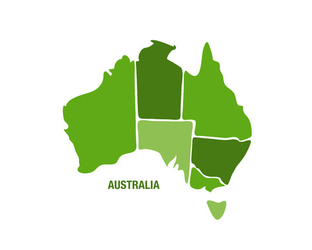 Vector illustration of a green Australia map