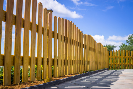 Wooden fence on a residental terrace