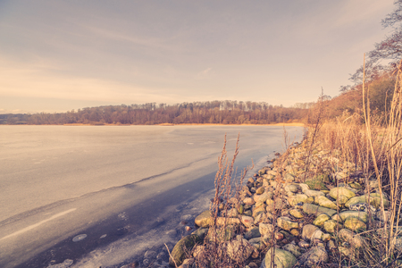 Morning scenery with a frozen lake in the winter