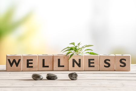 Foto de Wellness sign with wooden cubes and flowers and stones - Imagen libre de derechos