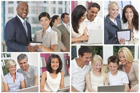 Montage of men, women,children, families businessmen and businesswomen all using modern computer technolgy and communications equipment