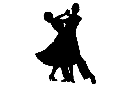 couple of dancers black silhouette on competition in ballroom dancing