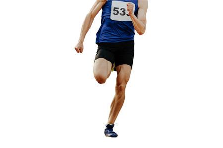 Foto de legs sprinter man runner running on white background isolated - Imagen libre de derechos