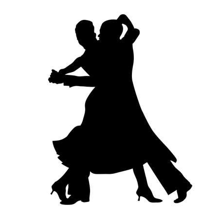 Illustration for ballroom dance couple black silhouette on white background - Royalty Free Image