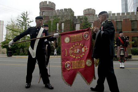 """London, Ontario, Canada. June 1, 2008. The 1st Hussars Regimental """"Guidon"""" is unveiled before the Regiment during rememberance and thanksgiving ceremonies marking the 64th anniversary of the D-Day Normandy Landing and the 1st Hussars 152nd anniversary.  T"""