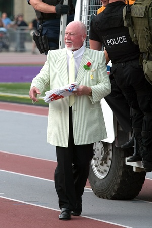 London Ontario, Canada - July 2010. Don Cherry, co-host of Coaches Corner on CBC's Hockey Night In Canada arrives at the opening ceremonies of the 2010 Special Olympics Canada Summer Games.