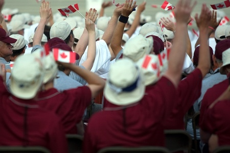 London Ontario, Canada - July 2010. Athletes attending the opening ceremonies of the 2010 Special Olympics Summer Games.