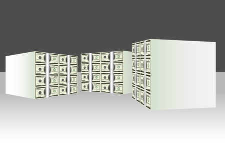 three large bundles of cash, 3D