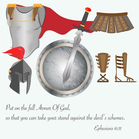 The Armor of God Christianity Jesus Battle Vector Illustration