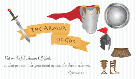 The Armor of God Christianity Jesus Christ Bible Vector Illustration