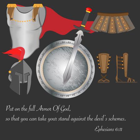 Armor of God Christianity Warrior Faith Brave Pray Vector Illustration