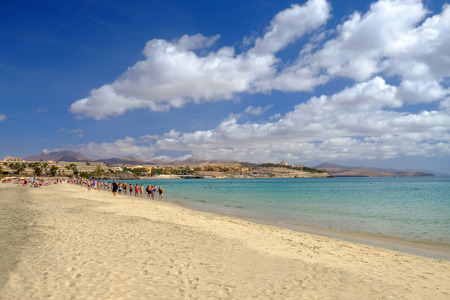 COSTA CALMA, FUERTEVENTURA SPAIN - 22.OCTOBER 2017: View on the beach Costa Calma on the Canary island Fuerteventura with unknown tourists.