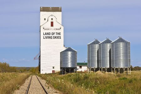 Land of the Livings Skies slogan can be found on a grain elevator in Saskatchewan