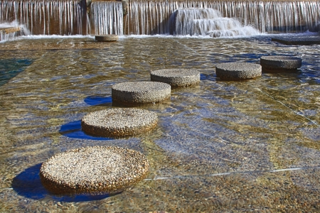Round stepping stones in fro