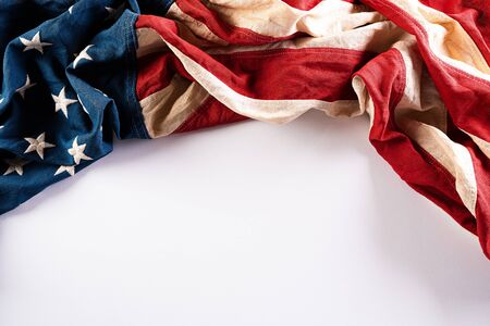 Photo for Happy Memorial Day. American flags with the text REMEMBER & HONOR against a white background. - Royalty Free Image