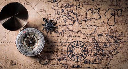 Photo pour Happy Columbus Day concept. Vintage compass and retro treasure manuscript.  Flat lay, top view with copy space. - image libre de droit