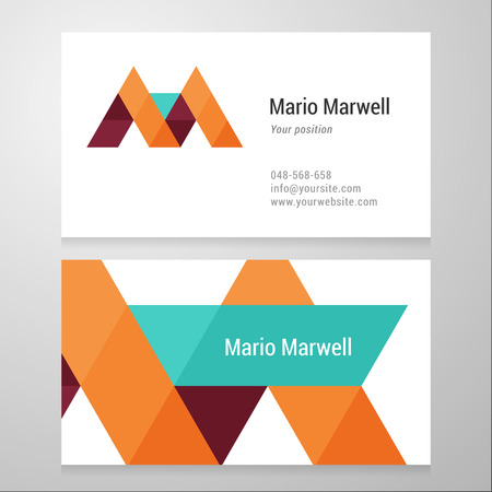 Modern letter M Business card template. Vector design. Layered, editable.