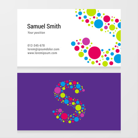 Modern letter S circle colorful Business card template. Vector design. Layered editable.