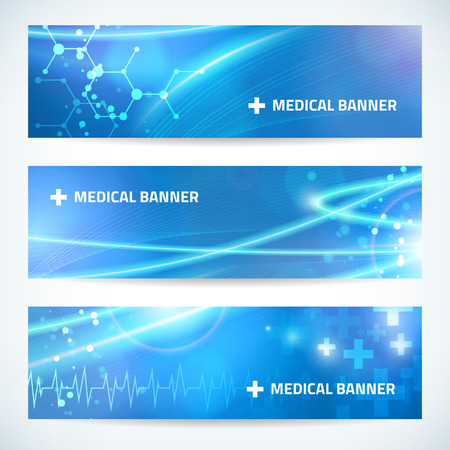 Ilustración de set technology medical banner background for web or print.  - Imagen libre de derechos