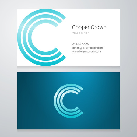 Design icon letter C Business card template. Layered editable.