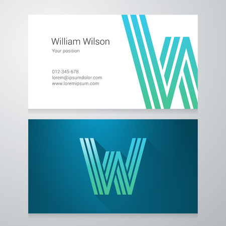 Design icon letter W Business card template. Layered, editable.