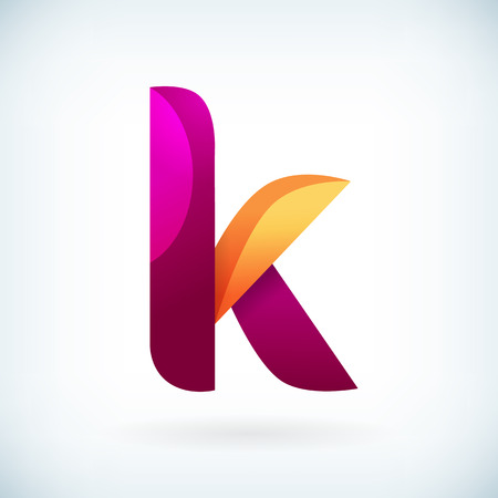 Modern twisted letter k icon design element template