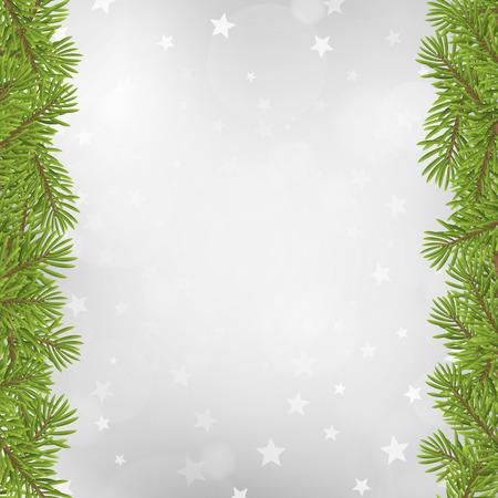 Illustration pour Christmas tree frame on blurred silver star background. vector illustration. - image libre de droit