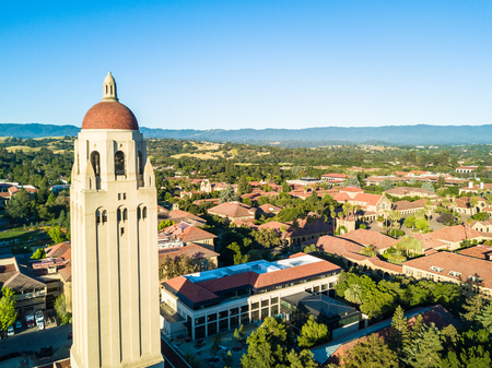 Drone view of Hoover Tower of Stanford University
