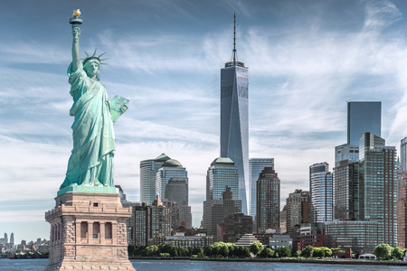 Photo pour The statue of Liberty with World Trade Center background, Landmarks of New York City, USA - image libre de droit