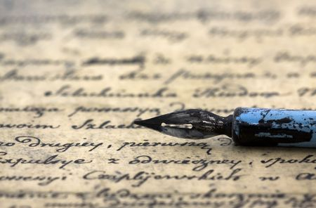 Ancient letter and pen