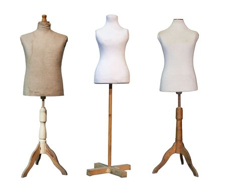 Tailors dummy mannequins isolated on white