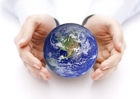 Photo for Earth in hands. Earth image provided by Nasa. - Royalty Free Image