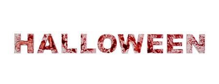 Foto de Word halloween splashed with blood isolated on white background - Imagen libre de derechos