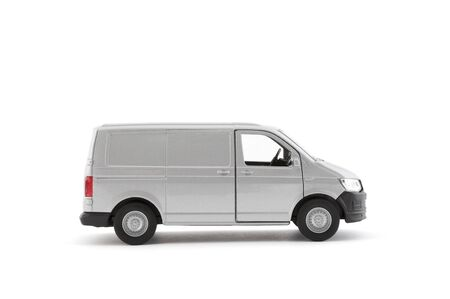 Photo for Transport silver van car on white background - Royalty Free Image