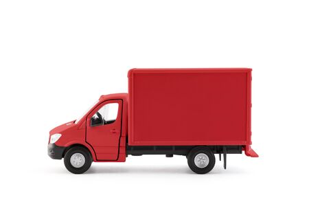 Photo pour Red cargo delivery truck side view on white background - image libre de droit