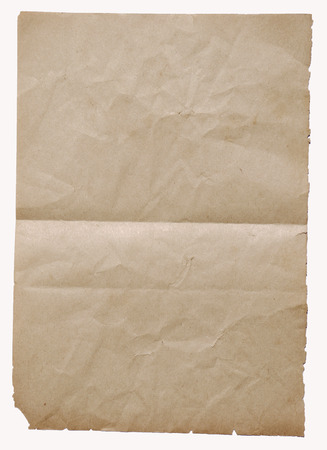 Isolated old vintage folded torn paper